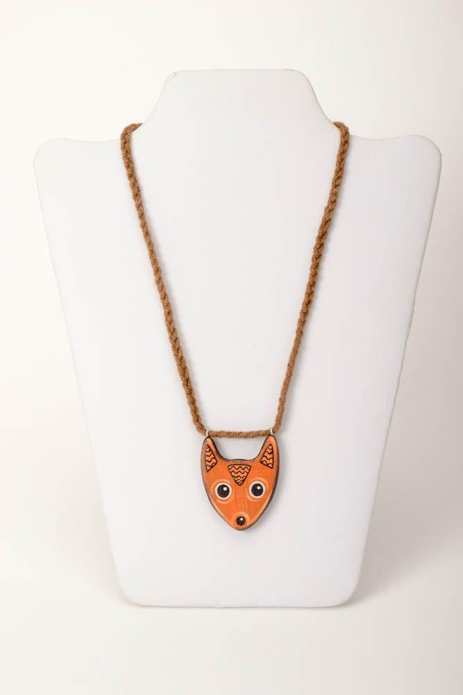 Handmade pendant wooden jewelry unusual accessory gift ideas designer bijouterie photo 2