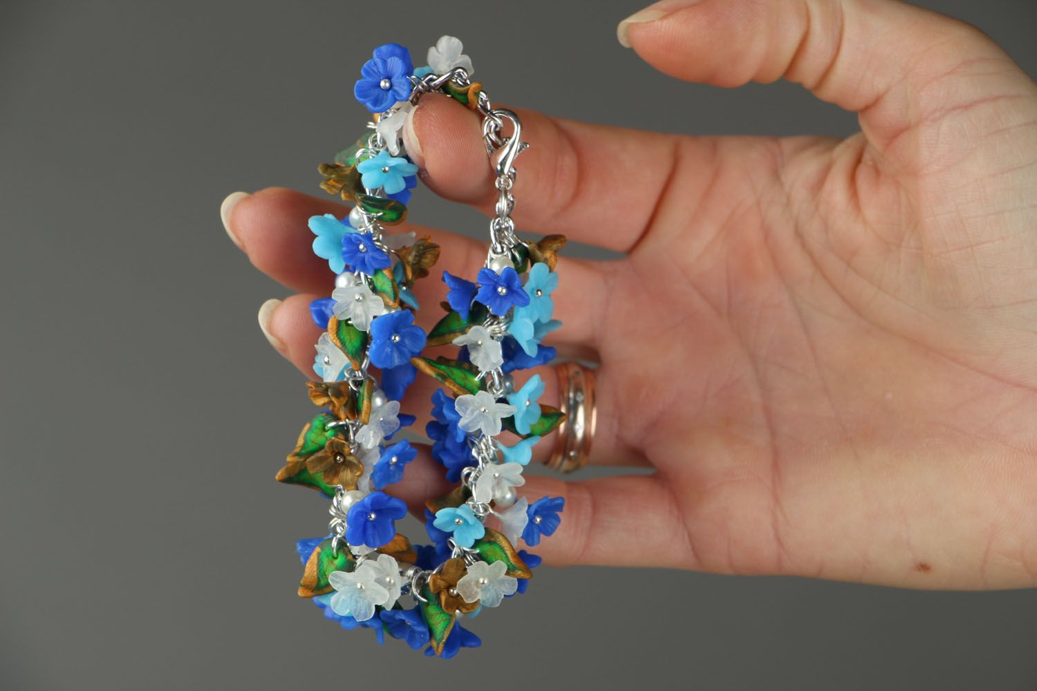 Polymer clay bracelet Forget-me-not photo 5