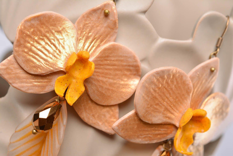 Beautiful handmade designer polymer clay flower earrings of average size photo 2