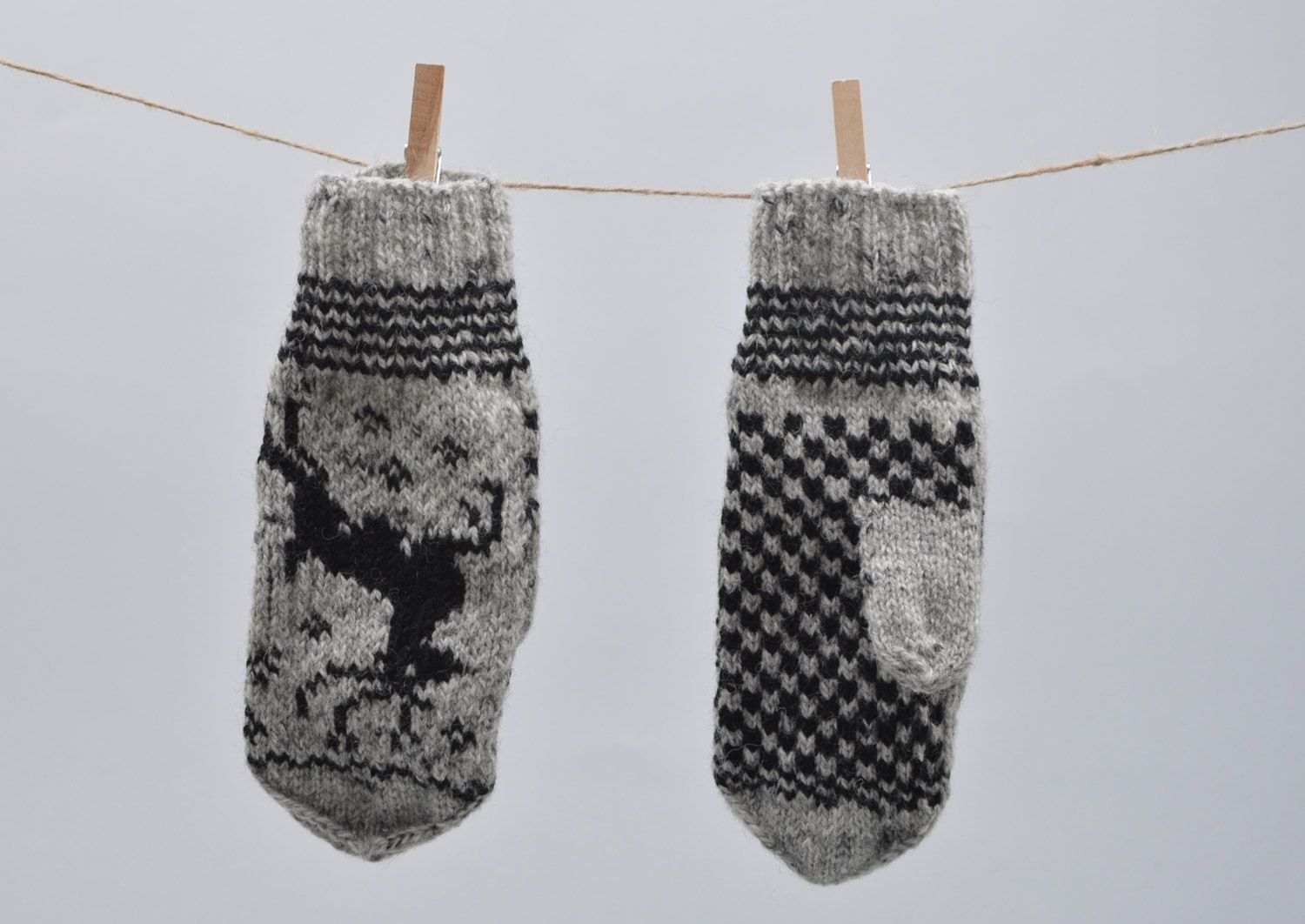 Handmade warm gray mittens with ornament knitted of sheep wool for women photo 5