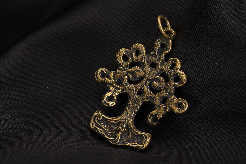 Unusual bronze pendant Iggdrasil photo 2