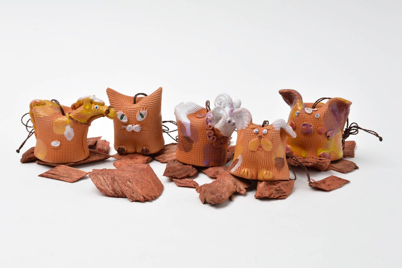 Designer handmade bells clay 5 beautiful animals unusual designer home decor photo 1