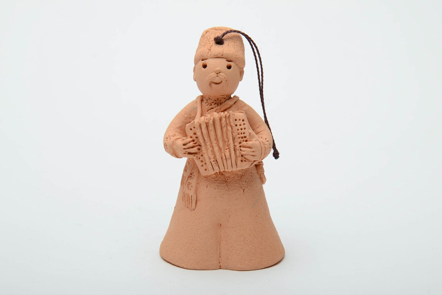 Handmade clay bell in the shape of accordion player photo 2