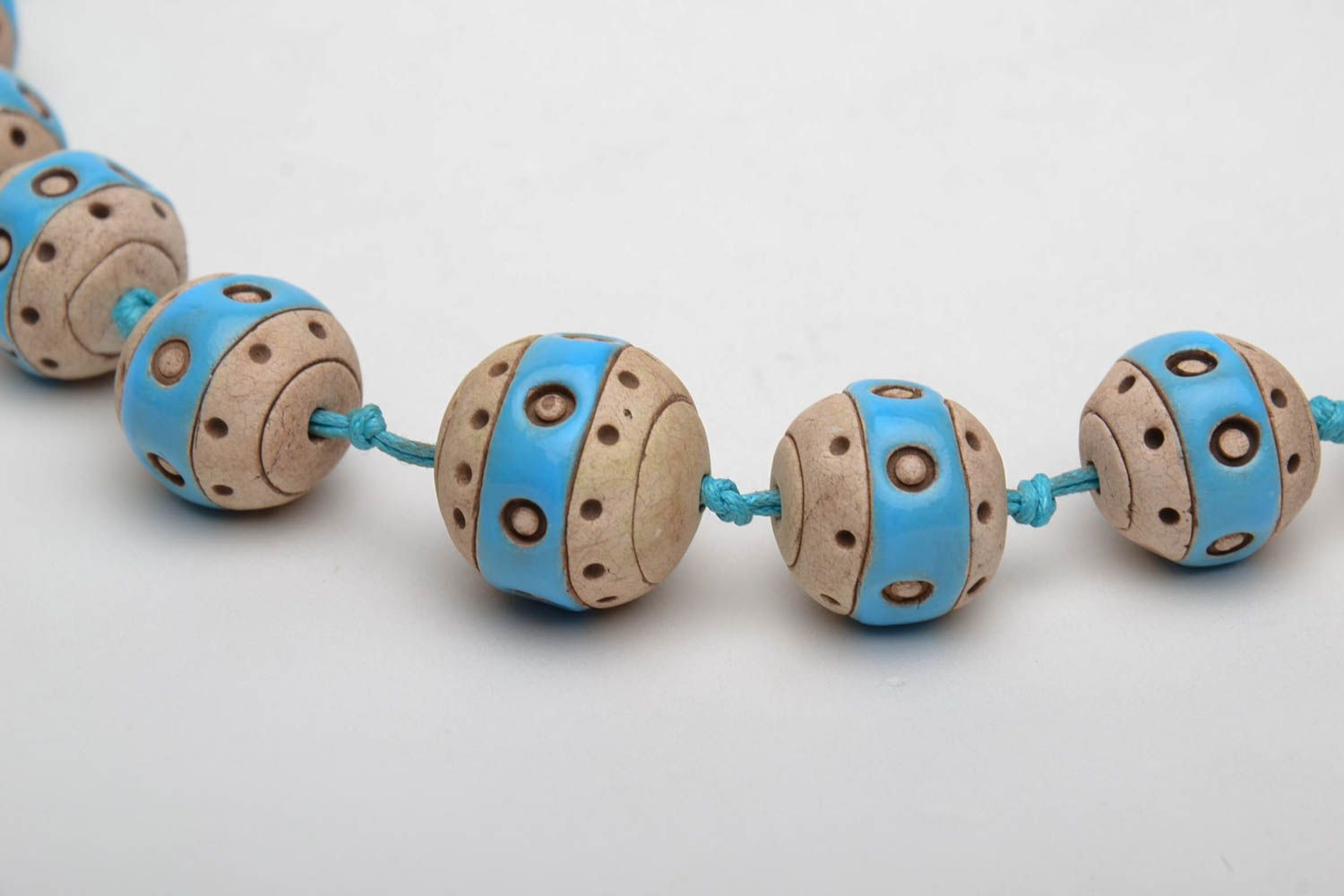 Clay bead necklace with cord photo 4