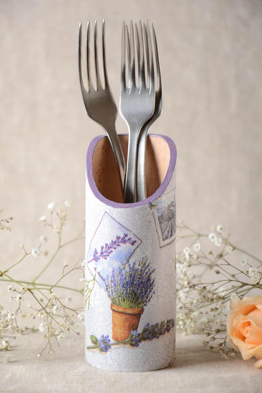 Kitchen Utensils Handmade Wooden Cutlery Holder Decoupage Wooden Kitchen  Utensil Holder Gift Idea   MADEheart.