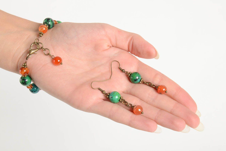 Handmade female wrist bracelet elegant designer earrings elite jewelry set photo 3