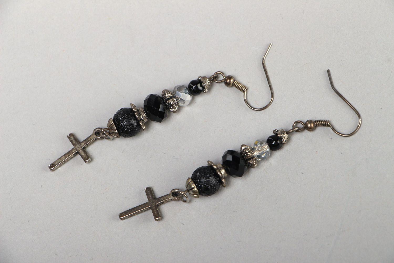 Handmade long earrings with black glass beads and cross-shaped metal charms  photo 1