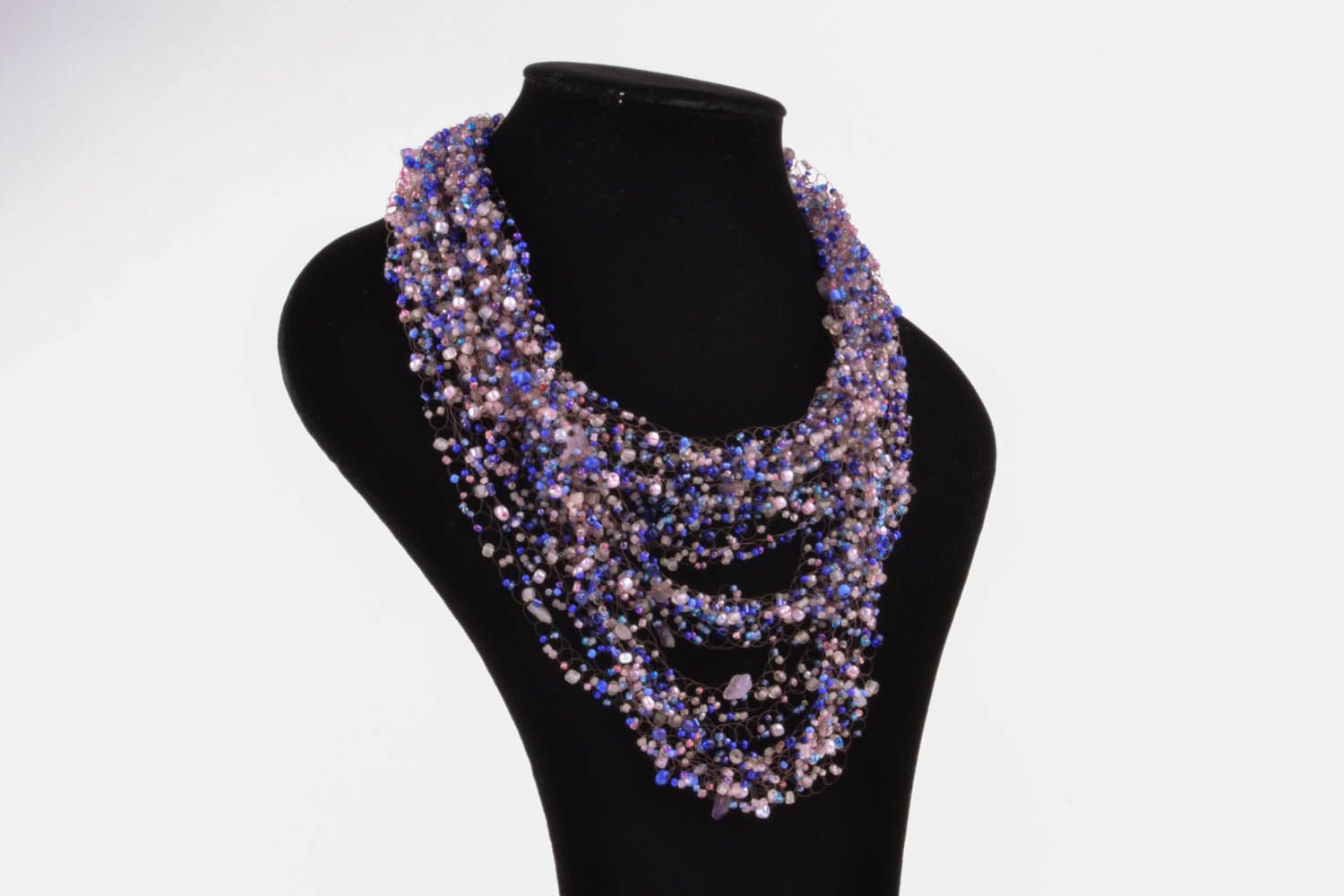 Violet necklace made of beads and natural stones photo 1
