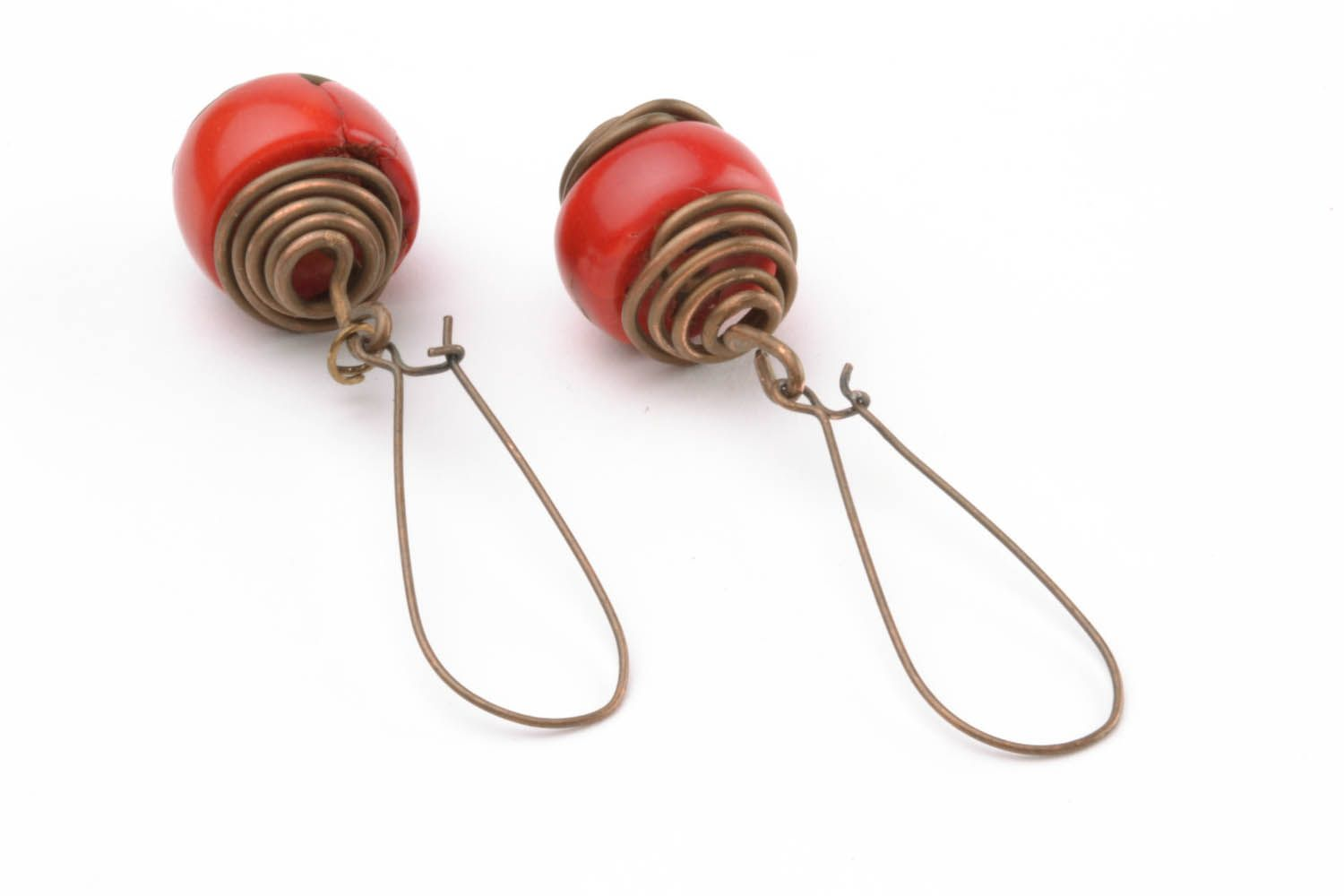 Copper earrings with coral  photo 4