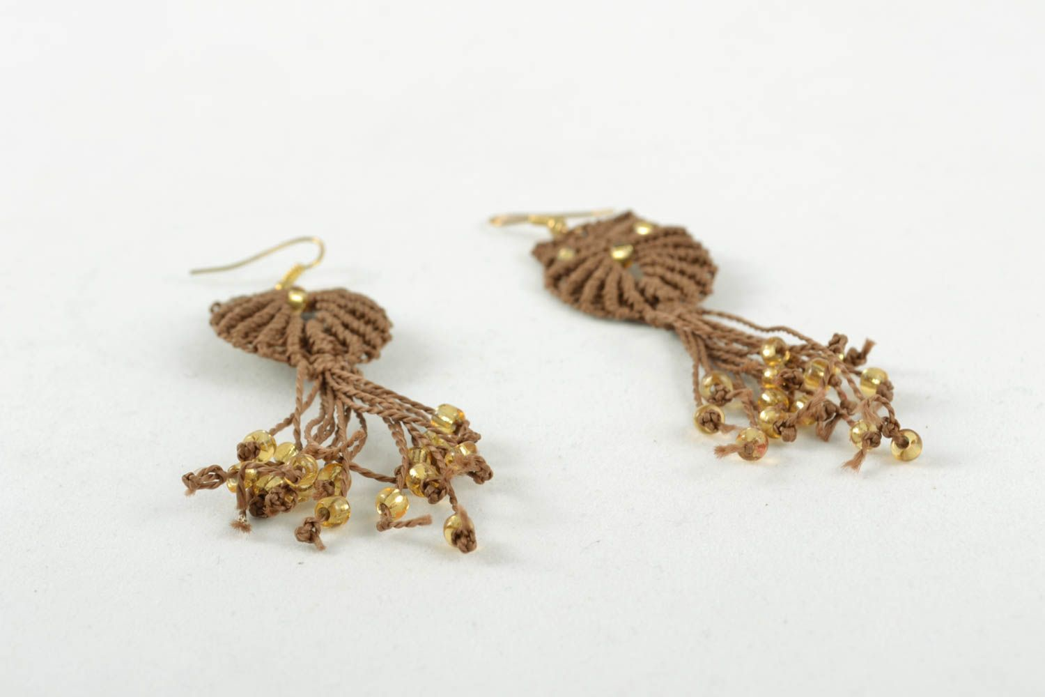 Long macrame earrings photo 1