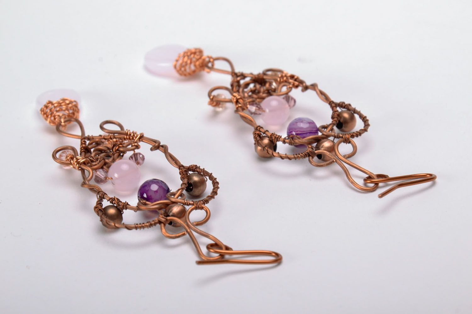 Long earrings with natural stones photo 3