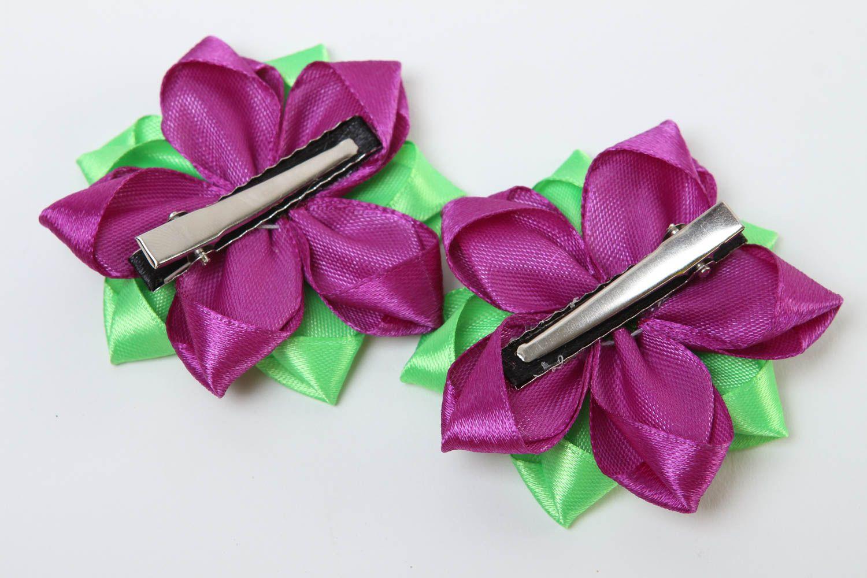 Заколки канзаши ручной работы детские украшения аксессуары для волос яркие фото 4