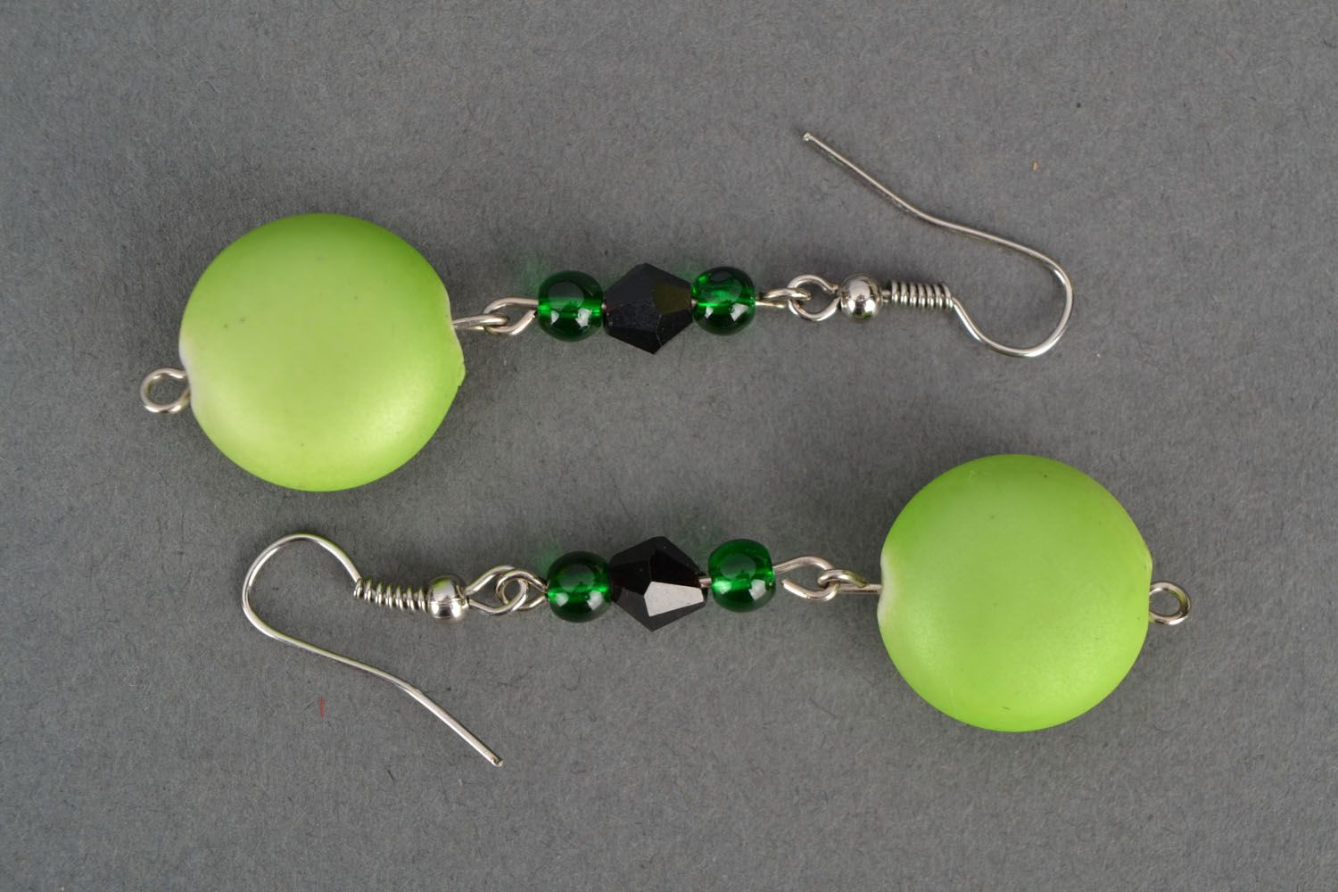 Earrings with plastic beads photo 2