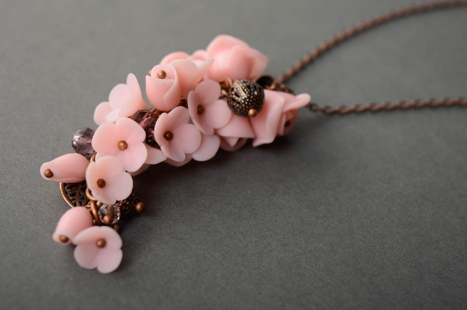 Polymer clay pendant Tender Flowers photo 1