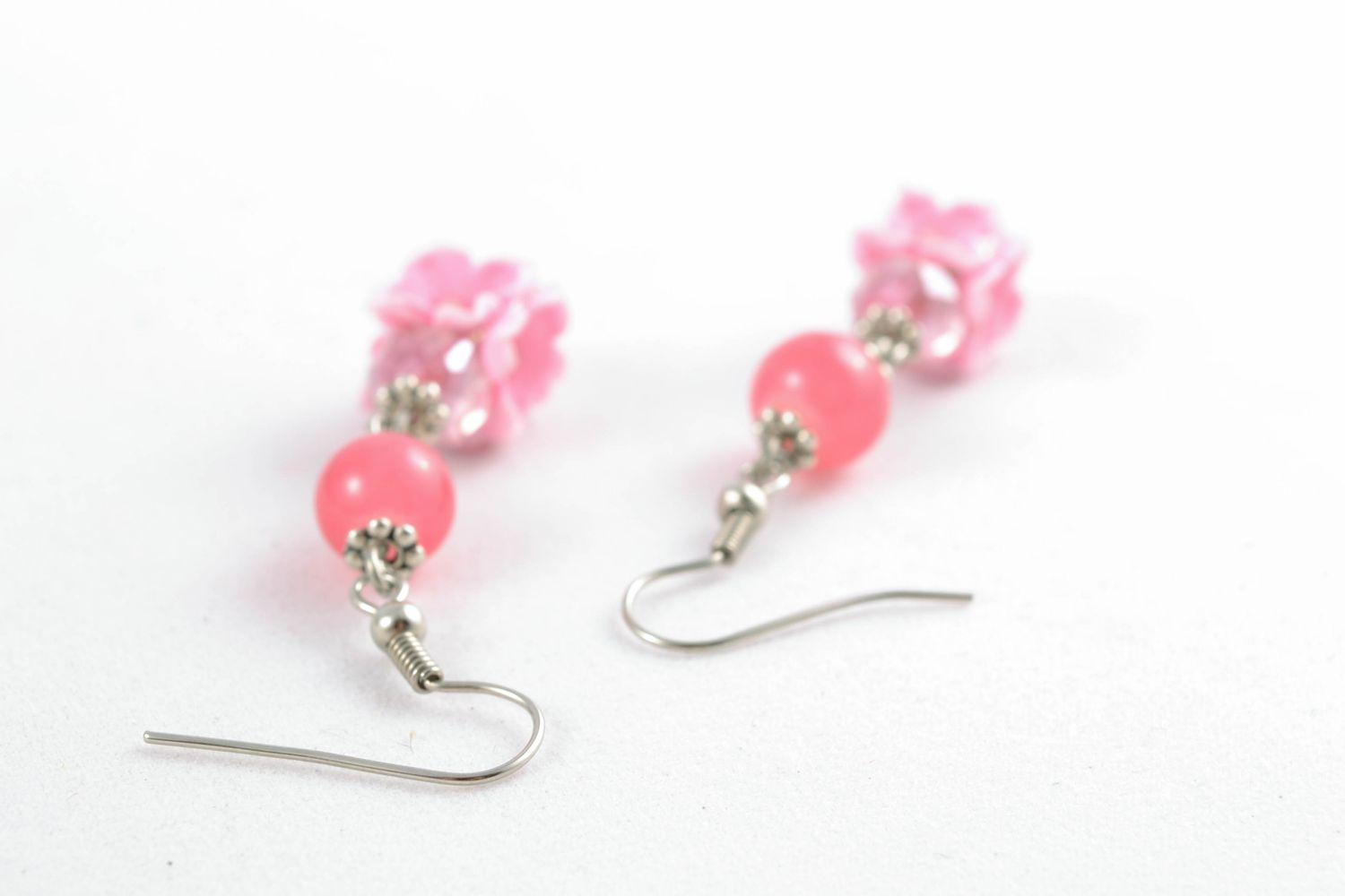Pink polymer clay earrings photo 3