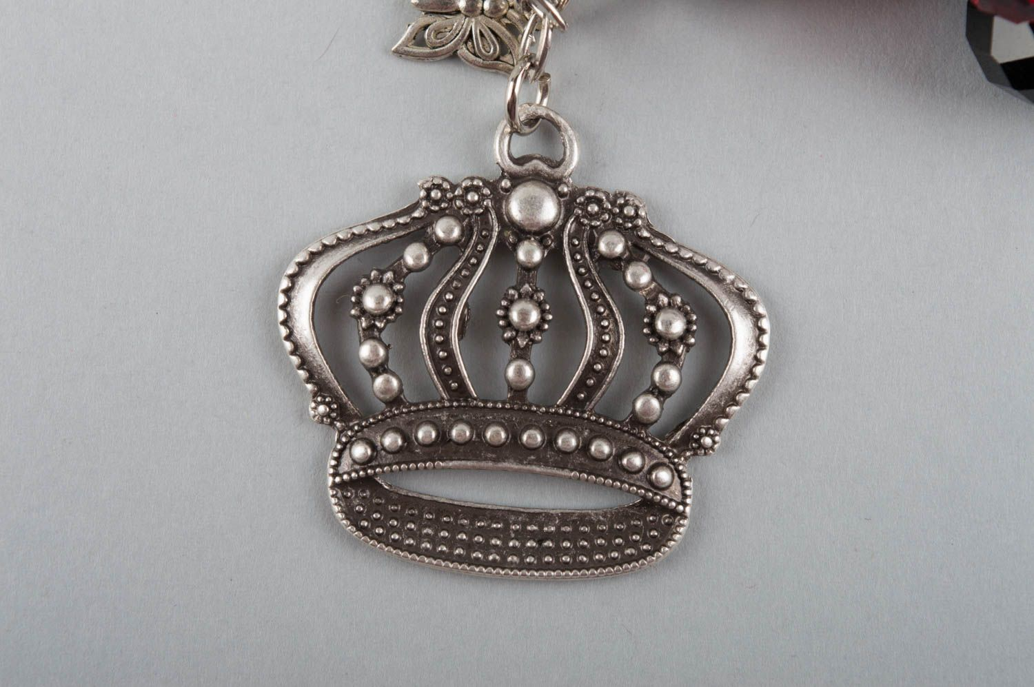 keychains Handmade keychain made of glass beads with charm in shape of crown for girls - MADEheart.com