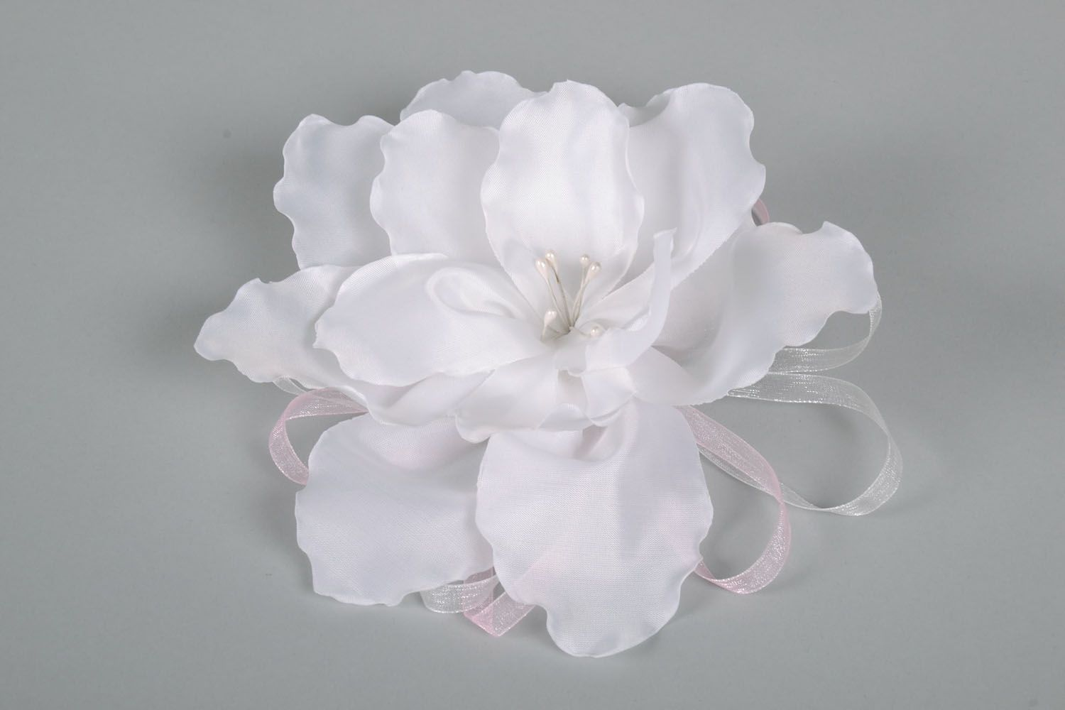 Flower hair clip made of satin ribbons photo 2
