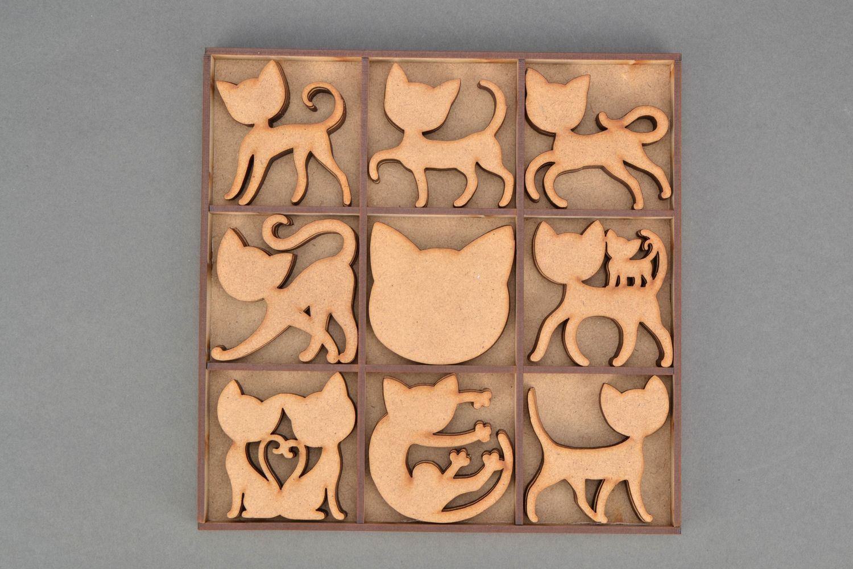 MADEHEART > Set de piezas de madera para pintar Gatos