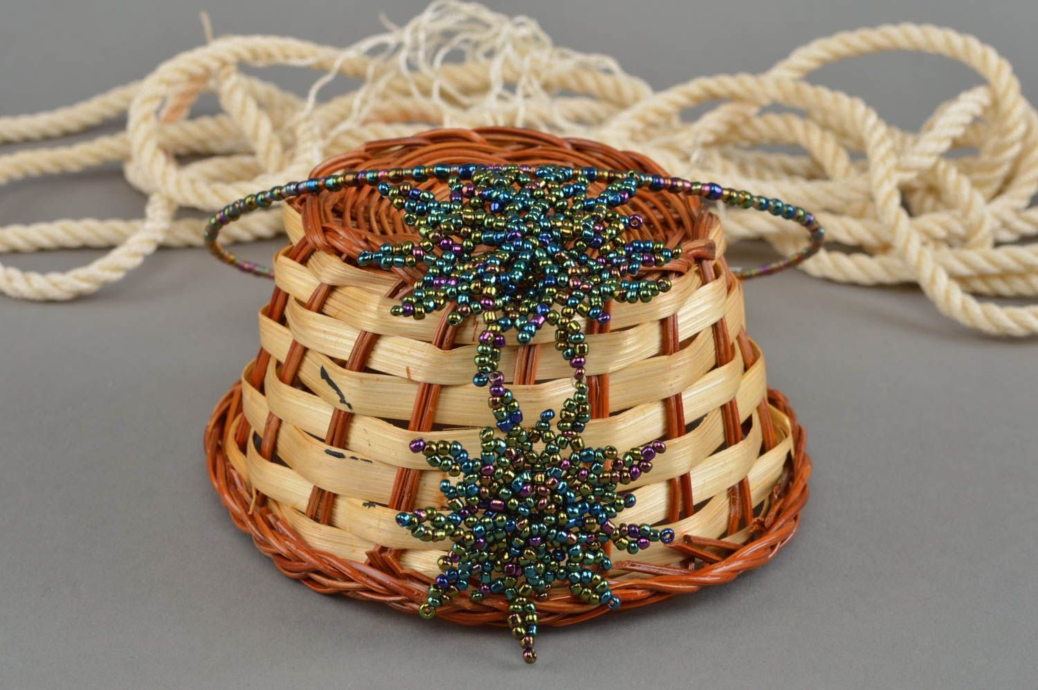 Handmade woven beaded thin necklace with stars on a fishing line photo 1
