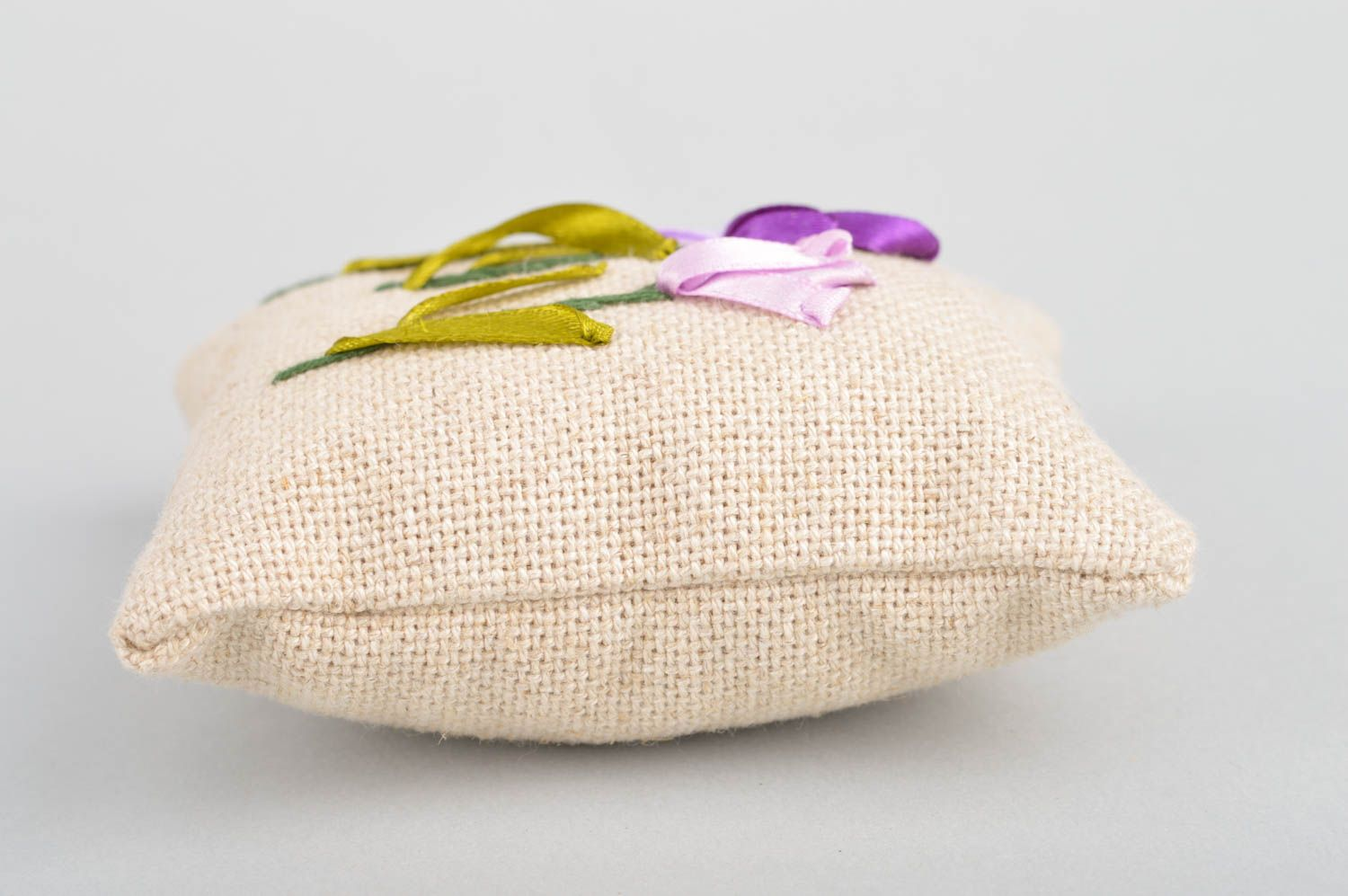 Beautiful small handmade scented linen fabric sachet pillow with embroidery photo 5
