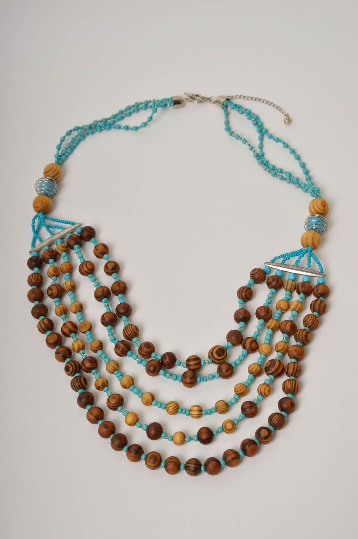 Handmade wooden beaded necklace elegant female necklace stylish accessory photo 2