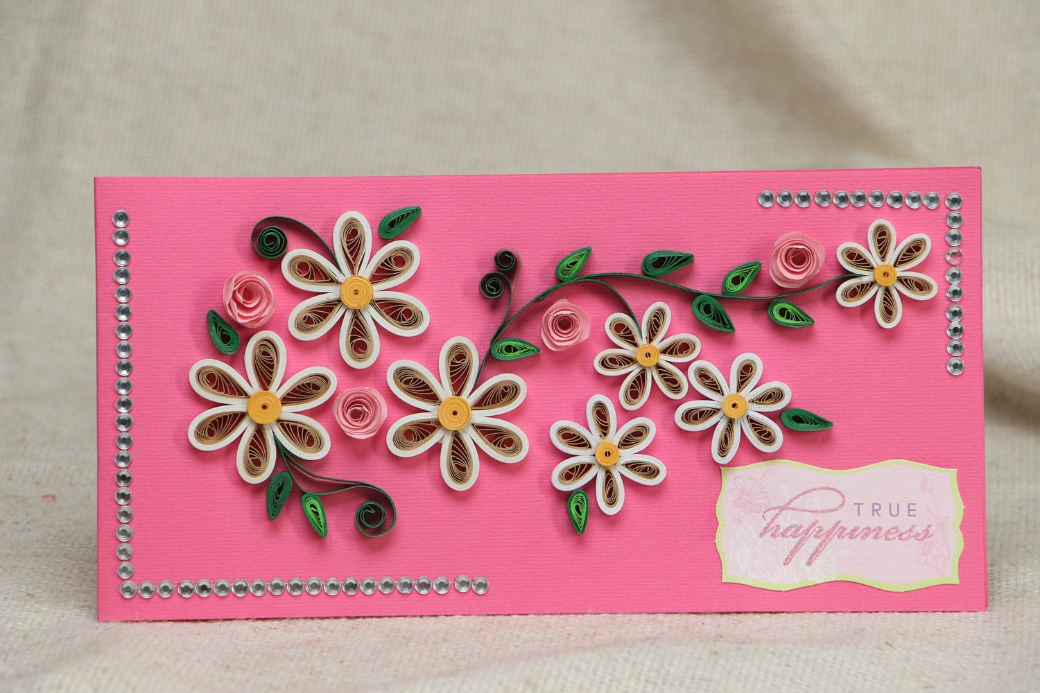 Quilling greeting card with flowers photo 1