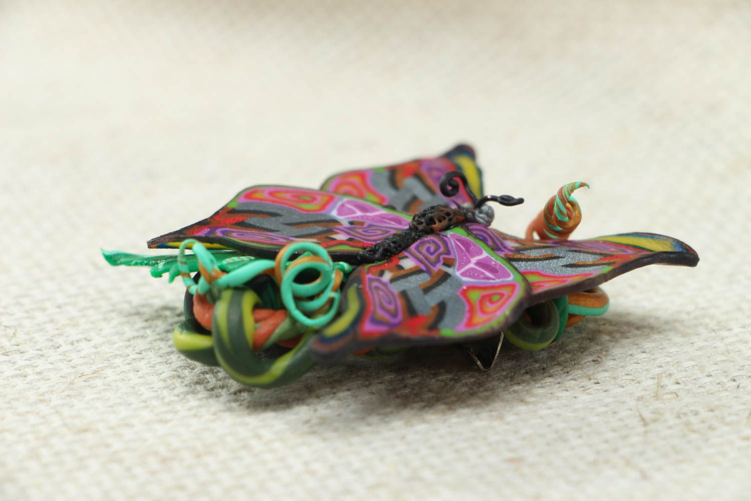 Women's polymer clay brooch in the shape of butterfly photo 2