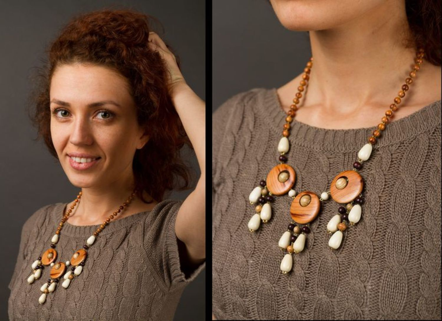 Ethnic wooden necklace  photo 2