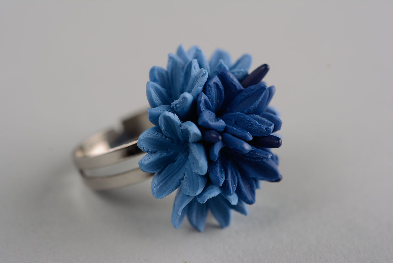 Homemade plastic ring Cornflower photo 1