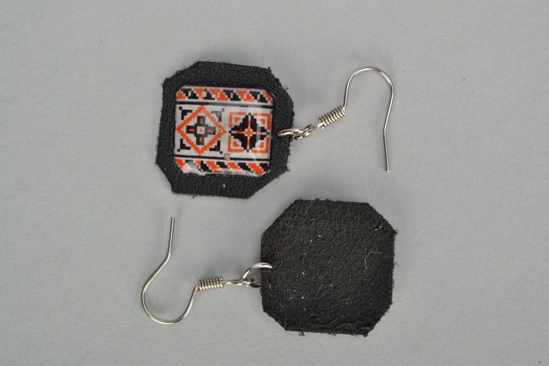 Ethno style leather earrings Vyshyvanka photo 4