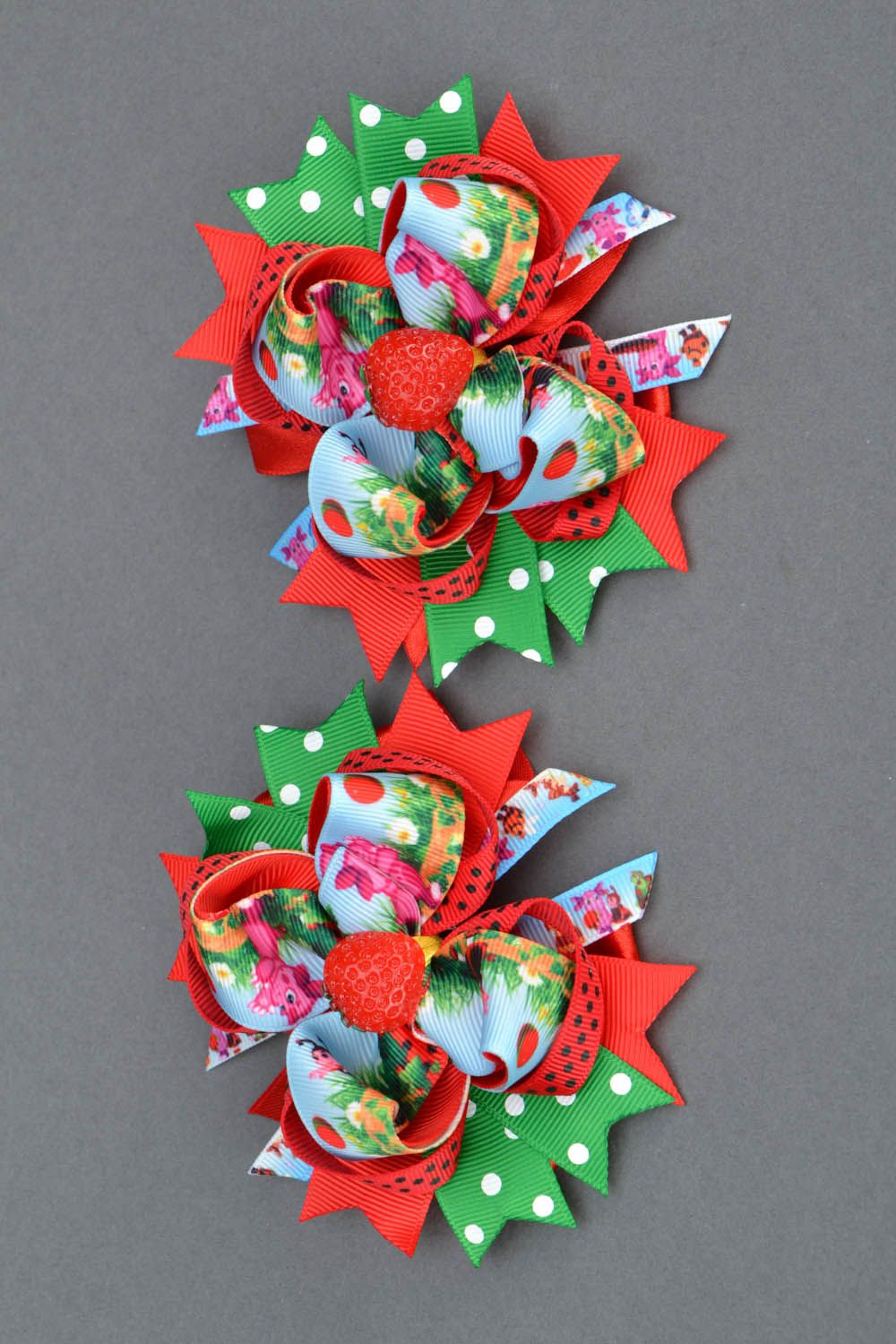 Hair clips with ribbons Strawberries photo 3