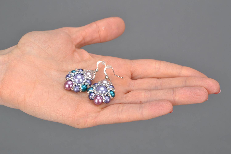Beaded earrings Violet photo 2