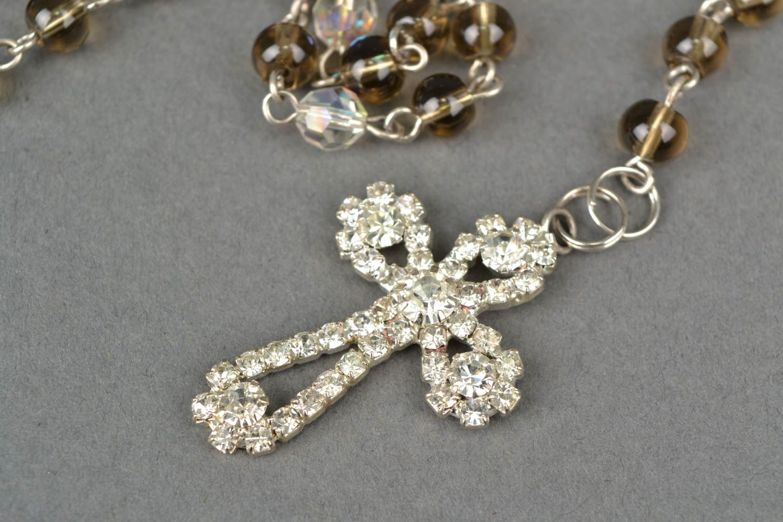 Women's quartz bead necklace with cross photo 2