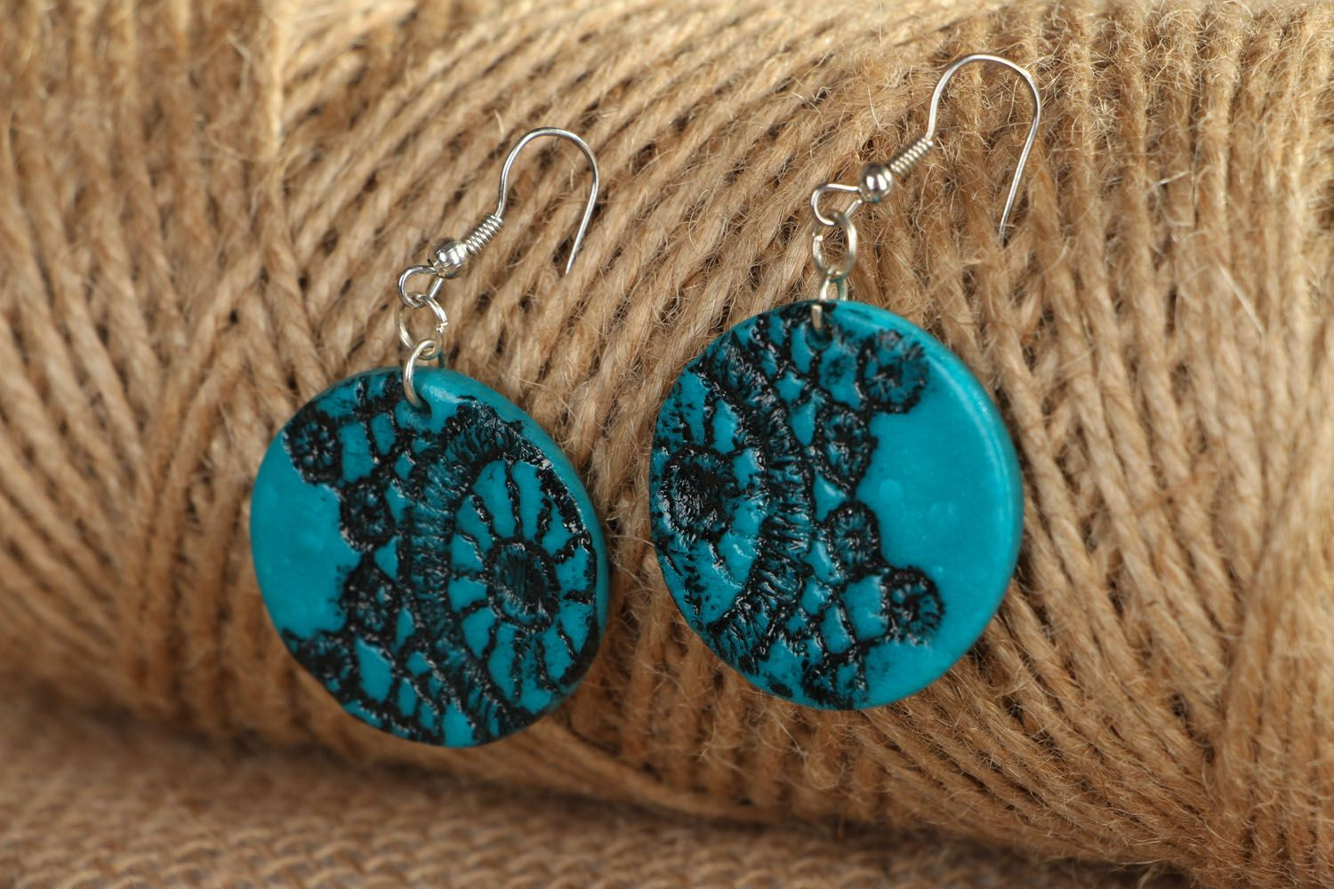 Polymer clay earrings Lace photo 4
