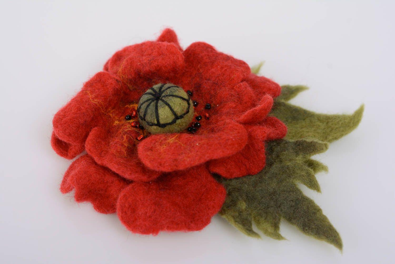 Handmade flower brooch wool felting technique large beautiful accessory photo 1