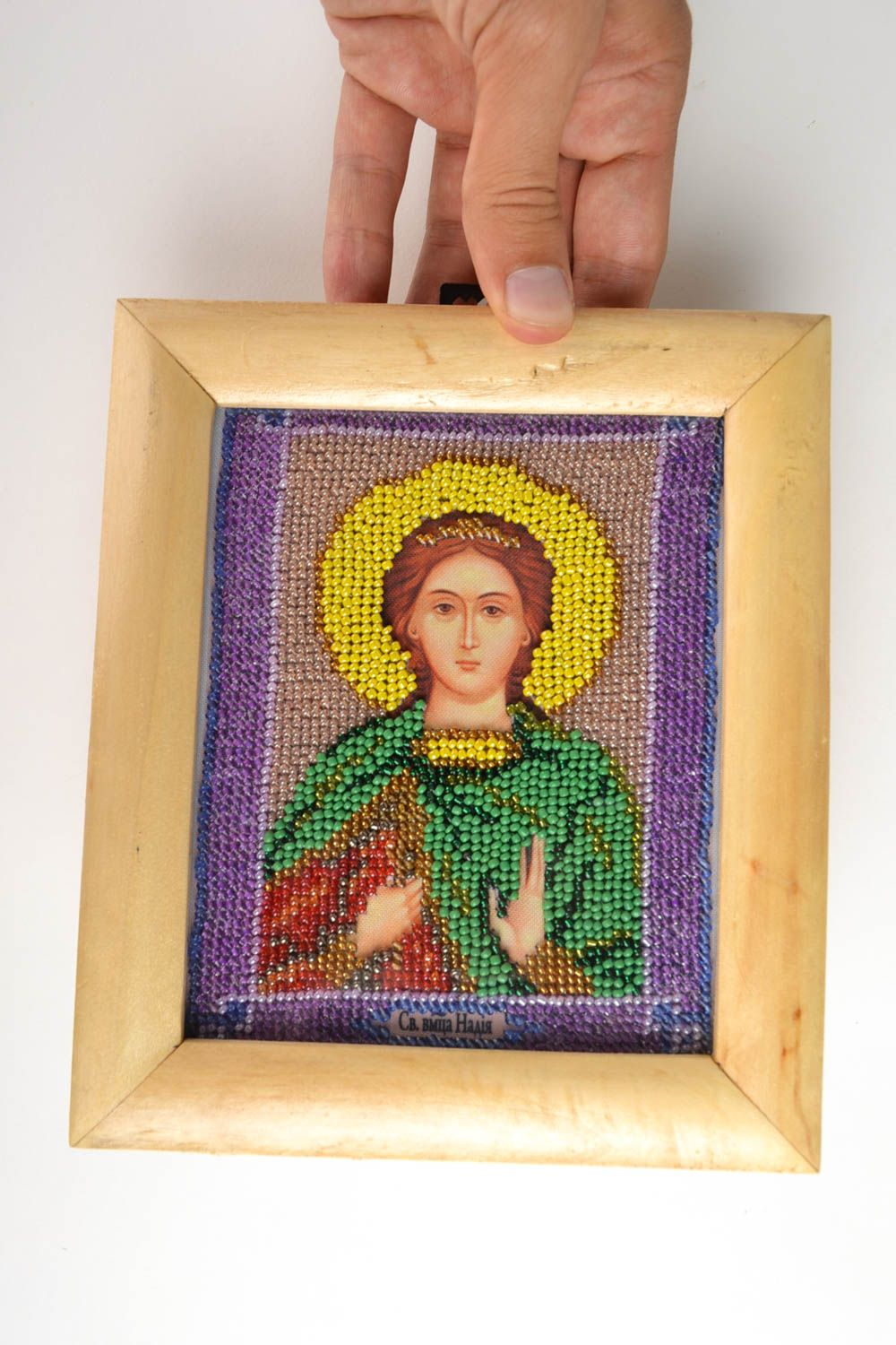 embroidery with beads Handmade icon personal icon unusual gift Orthodox icon gift for women - MADEheart.com