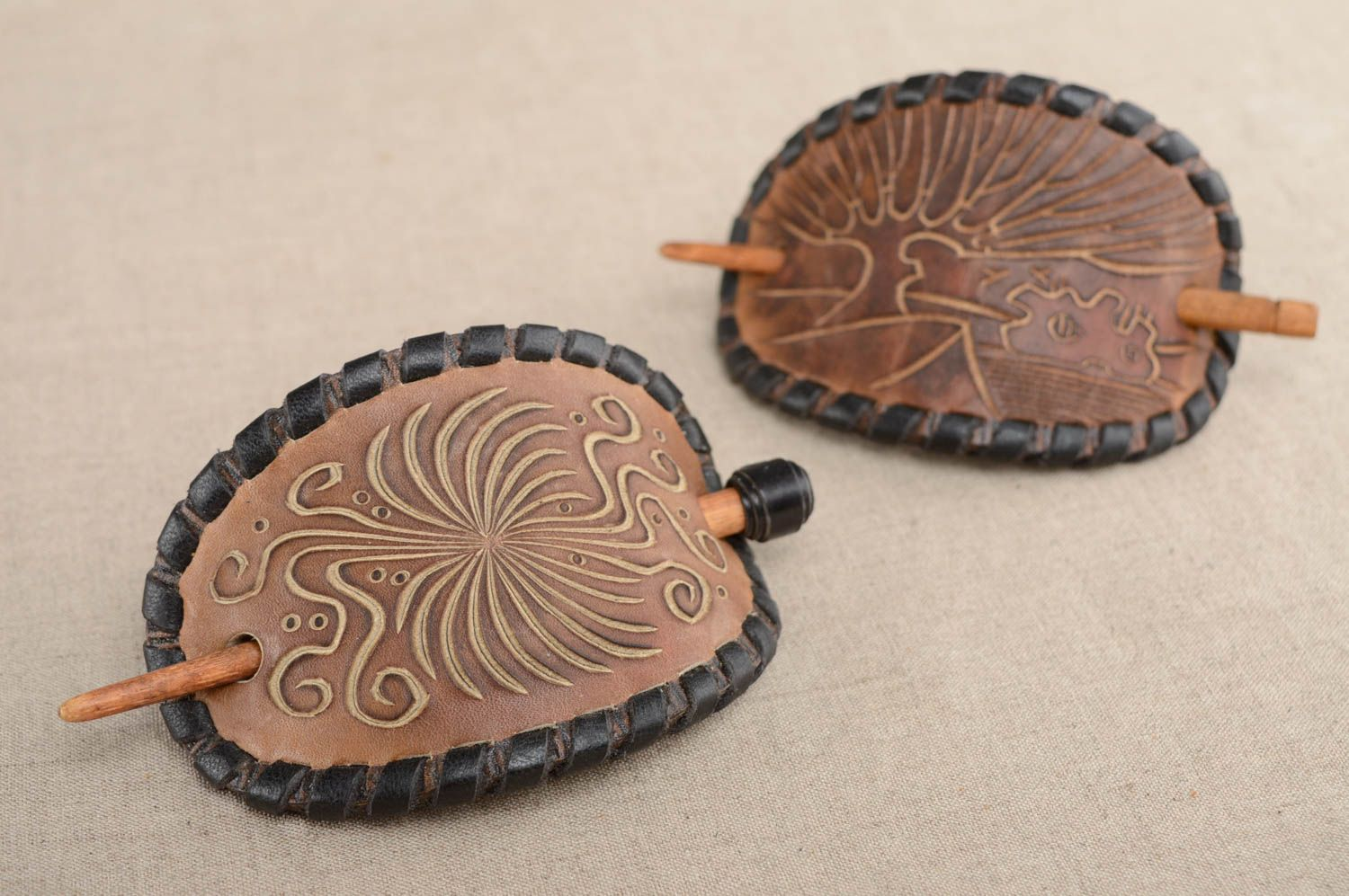 hair clips Genuine leather hairpin with wooden stick - MADEheart.com