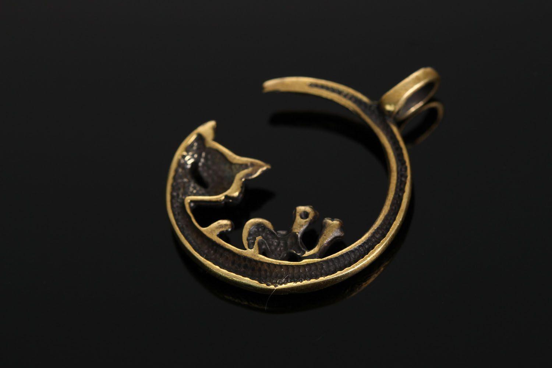 Bronze pendant Moon Cat photo 3