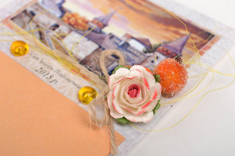 Handmade designer paper postcard stylish postcard with decor unusual souvenir photo 2