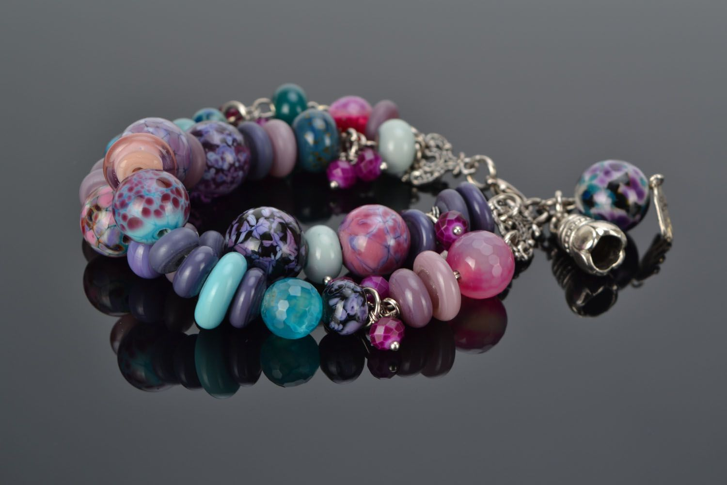 Double-row bracelet with lampwork beads photo 1