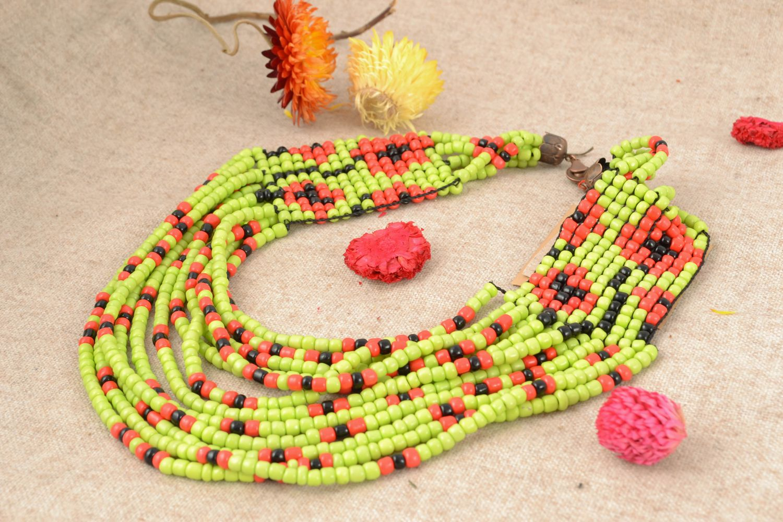 Multirow beaded necklace in ethnic style photo 1