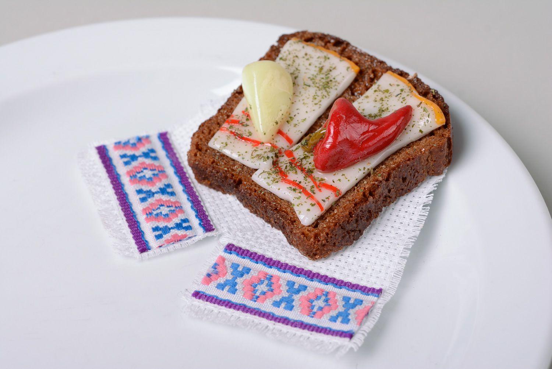 Madeheart aimant pour frigo en p te polym re original fait main sandwich au lard - Aimant pour frigo ...