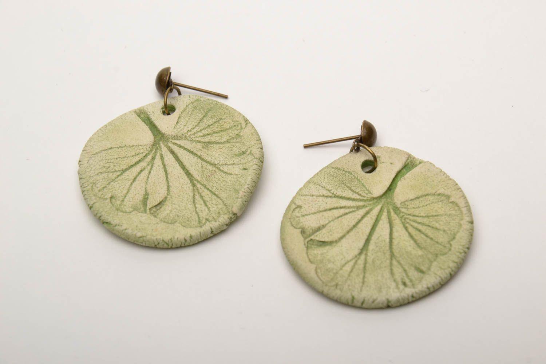 Ceramic round earrings photo 3