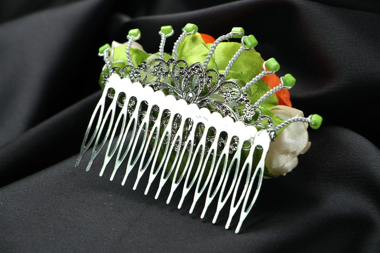 Satin hair clip with flowers photo 3
