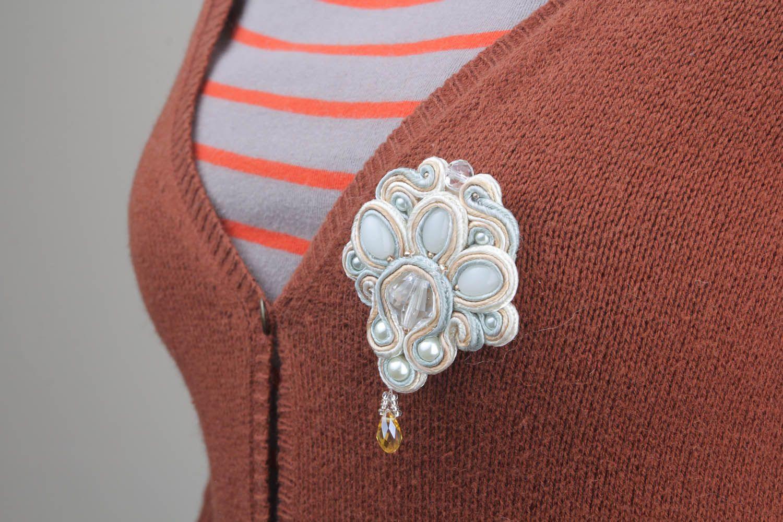 Brooch made of soutache ribbon photo 1