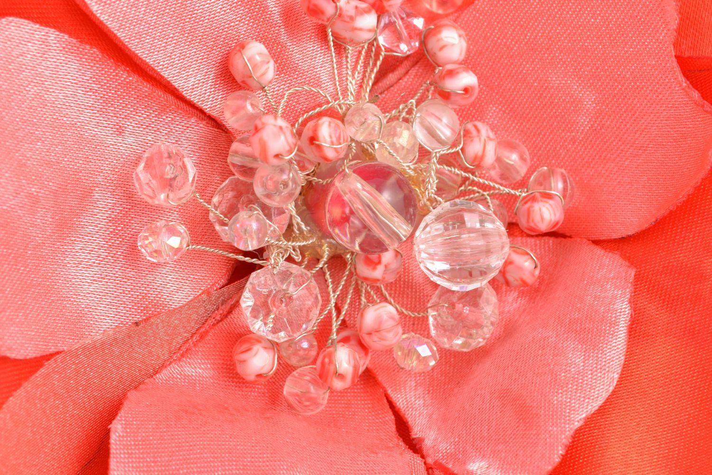 Helle Brosche-Haarnadel handgemacht aus Textil  foto 3