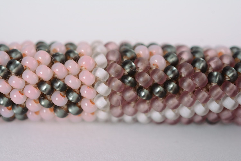 Handmade woven Czech bead cord bracelet for women photo 4