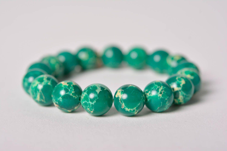 Handmade designer wrist bracelet with green pressed variscite beads for women photo 5