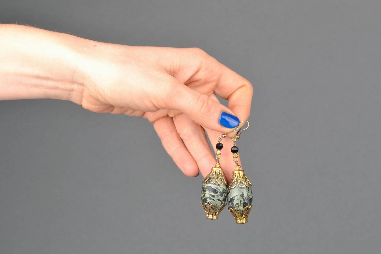 Handmade earrings with beads of unusual shape photo 2