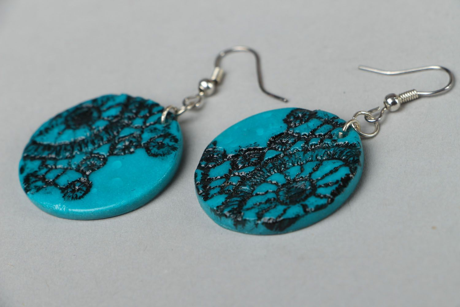 Polymer clay earrings Lace photo 2